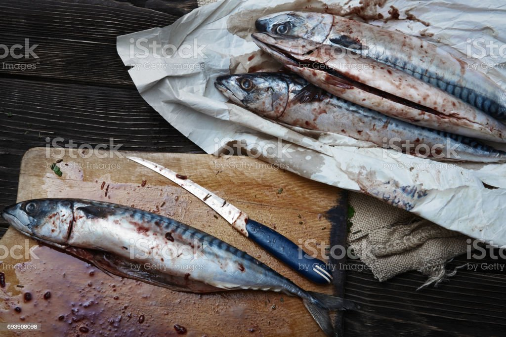 Raw fish on a table stock photo