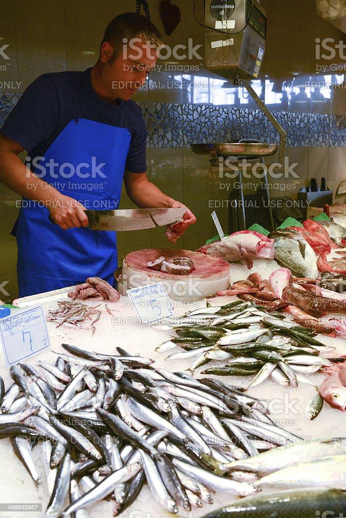 Raw Fish on ice for sale at La Boqueria Market royalty-free stock photo