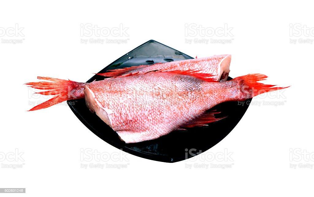 Raw Fish On White stock photo