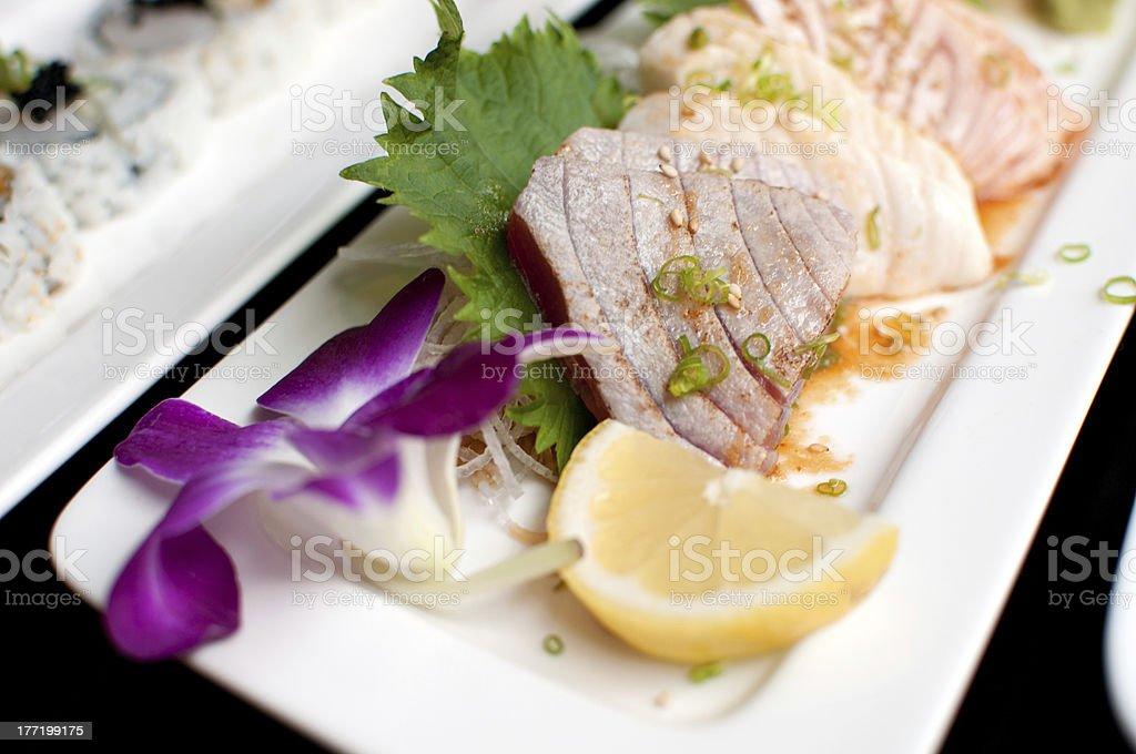 Raw fish slices sashimi stock photo