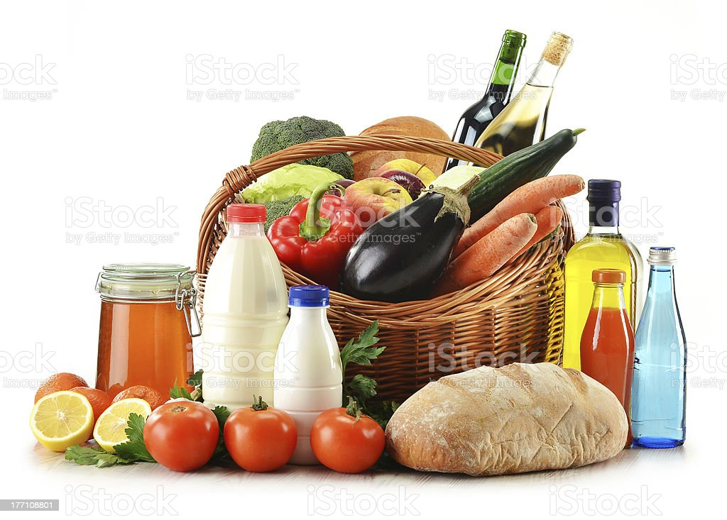 Raw food including vegetables, fruits, bread and wine royalty-free stock photo