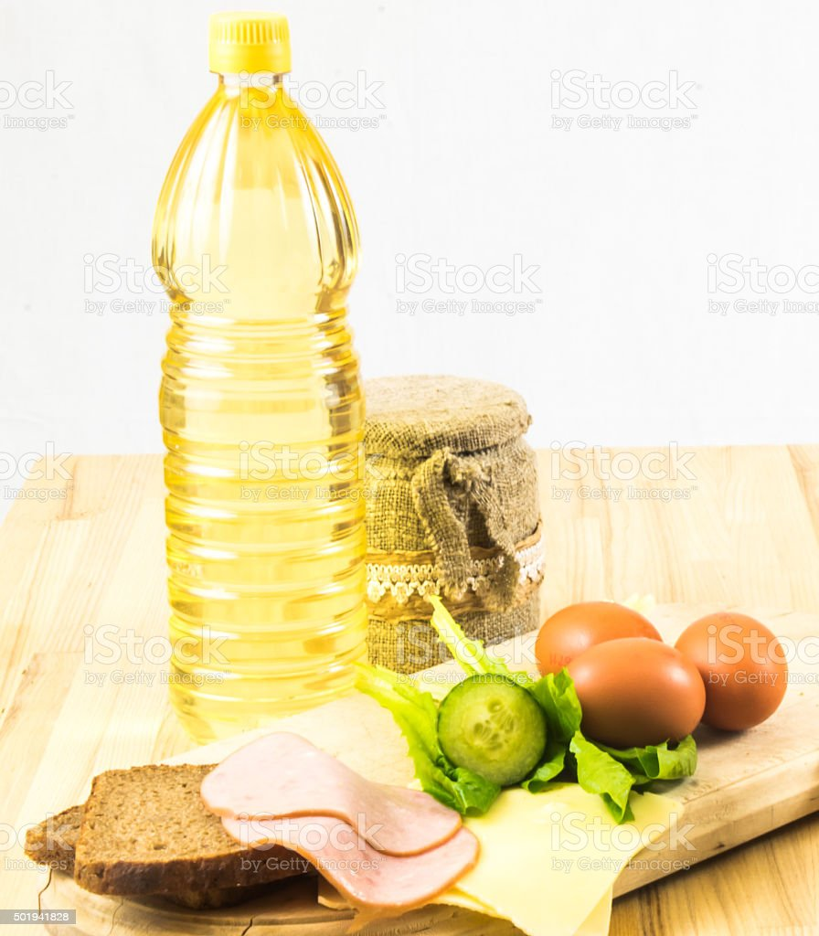 Raw food on table background stock photo