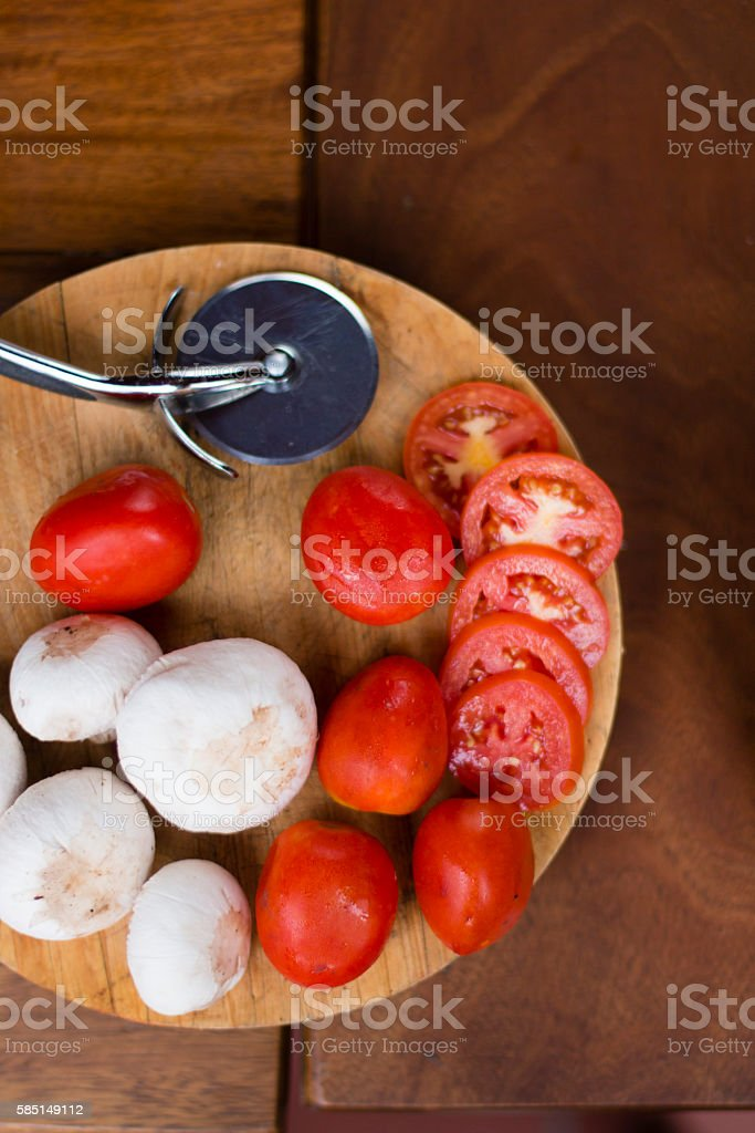 Raw food on the table ready to cook pizza stock photo
