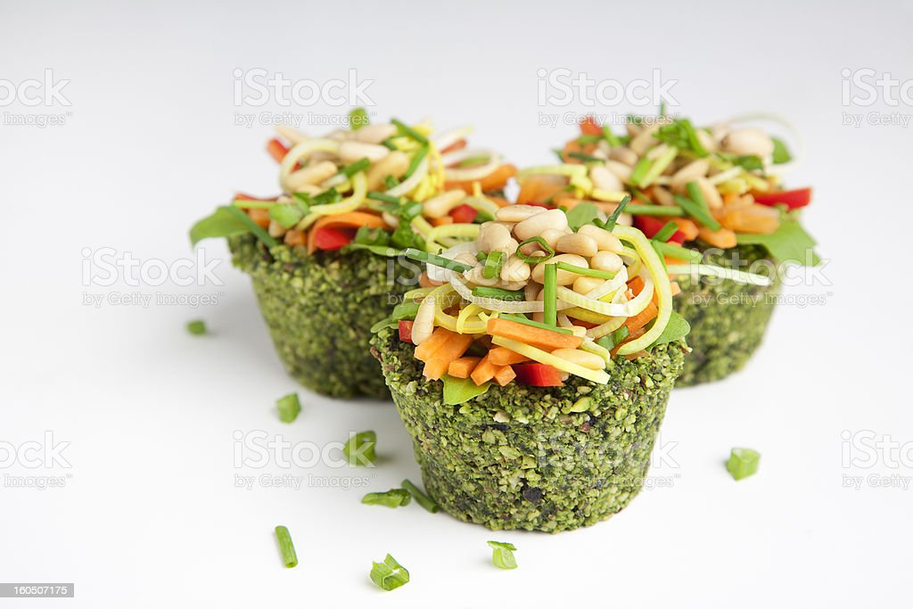 Raw food - spinach cup cakes royalty-free stock photo