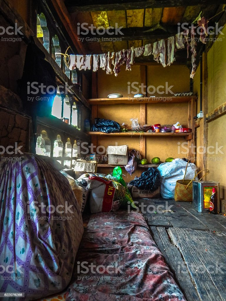 Raw food stock in a pantry at monastery in Bhutan royalty-free stock photo
