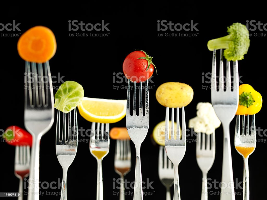 Raw Foods On Forks (Wet) royalty-free stock photo