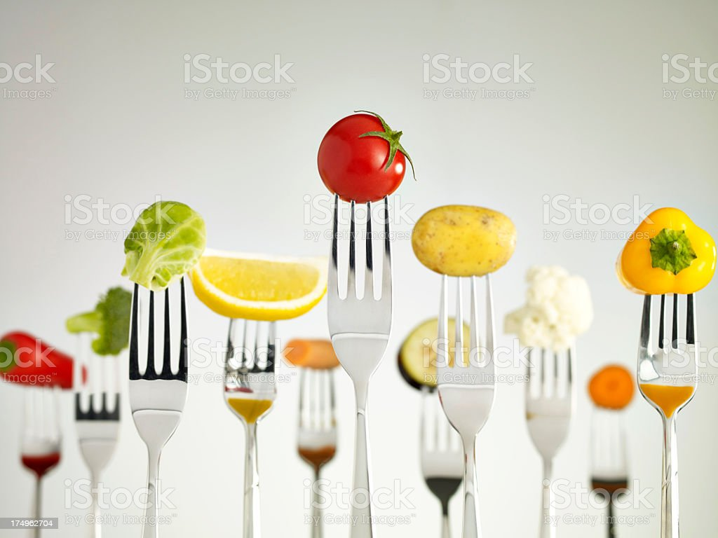 Raw Foods On Forks stock photo