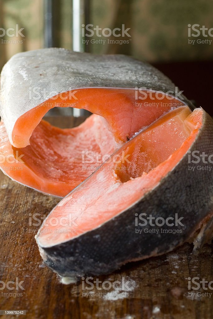 Raw freezed sliced salmon prepared for cooking. royalty-free stock photo