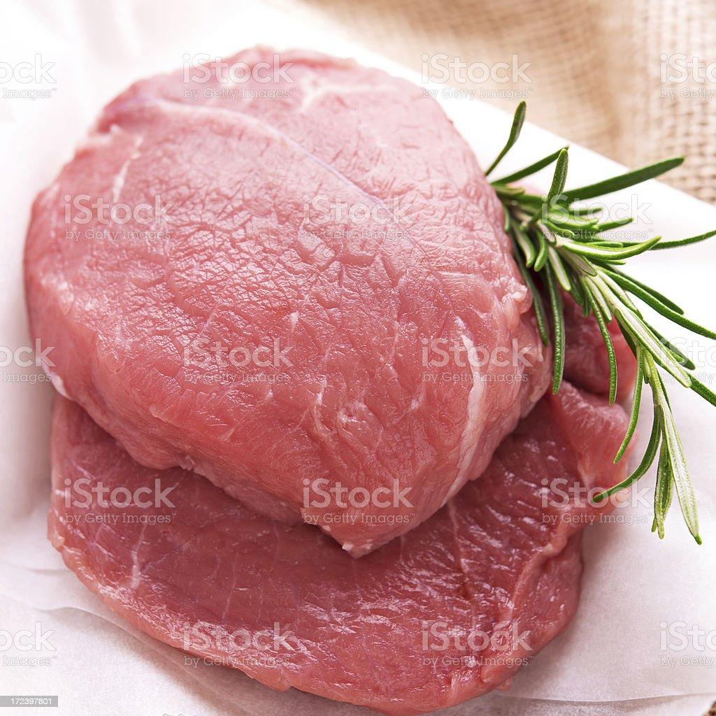 Raw fresh and juicy steak filets stock photo