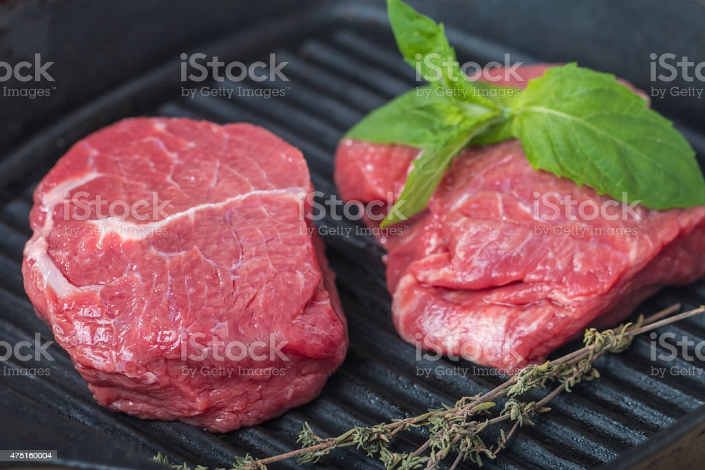 Raw fresh beef Steak on grill pan stock photo