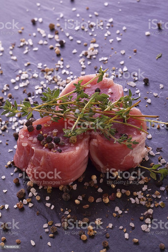 raw fresh filet with thyme royalty-free stock photo
