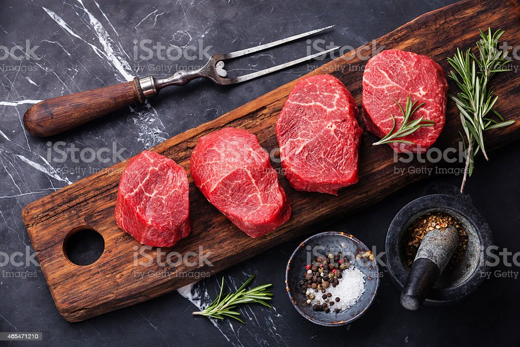 Raw fresh marbled meat Steak stock photo
