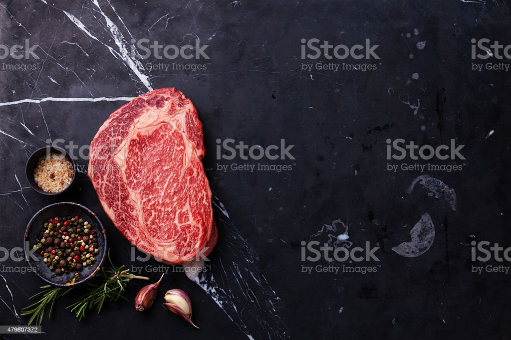 Raw fresh marbled meat Steak Ribeye stock photo