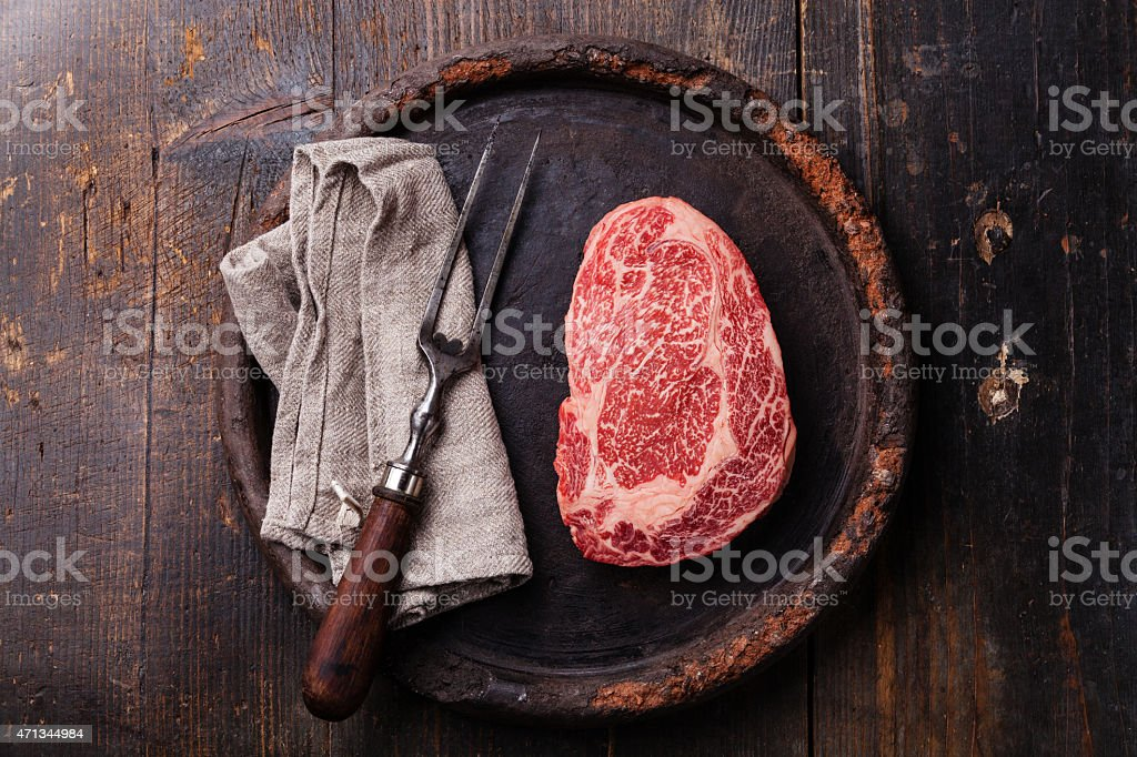 Raw fresh meat Angus Steak Ribeye stock photo