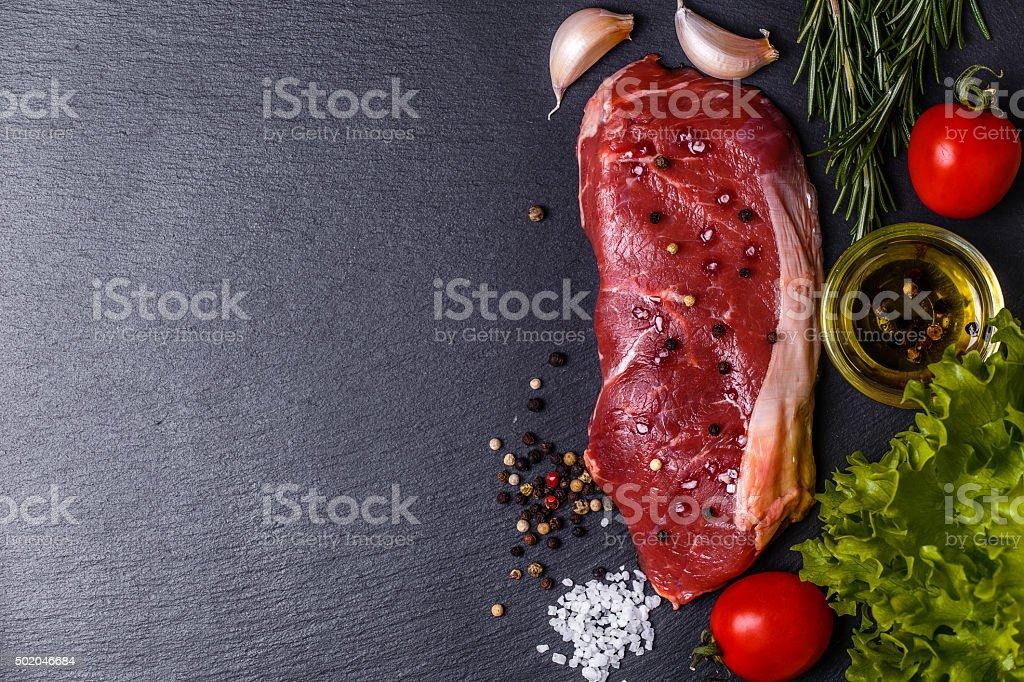 Raw fresh meat New York steak. stock photo