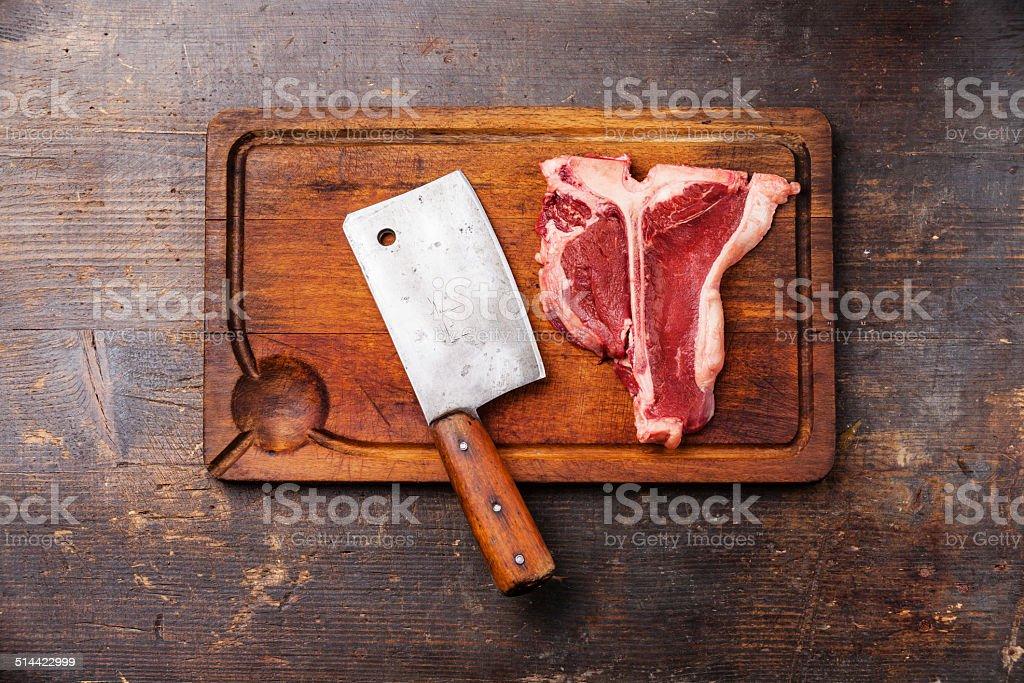 Raw fresh meat T-Bone Steak stock photo