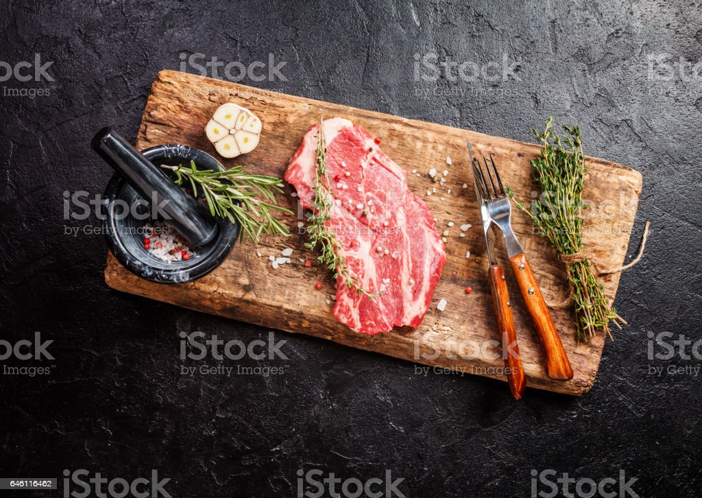 Raw fresh ribeye steak stock photo