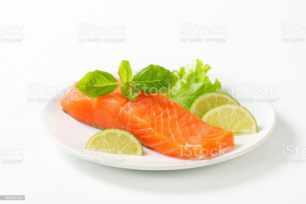 Raw fresh salmon steak ready for cooking royalty-free stock photo