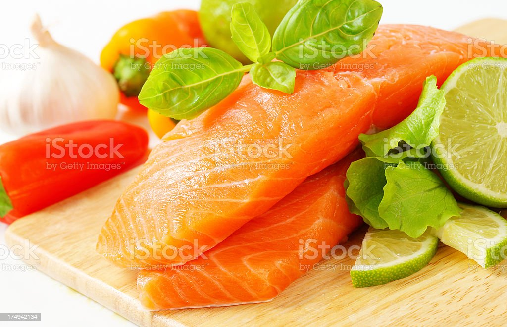 Raw fresh salmon steak ready for cooking royalty-free stock photo