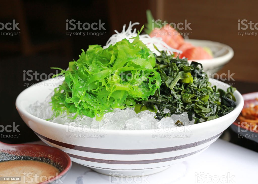 Raw fresh seaweed in Japanese style fresh serve on ice. stock photo
