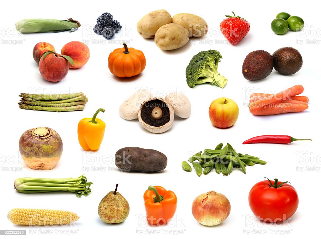 Raw Fruit and Vegetable Collage on a White Background stock photo