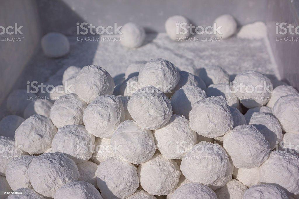 raw glutinous rice balls for Lantern Festival stock photo
