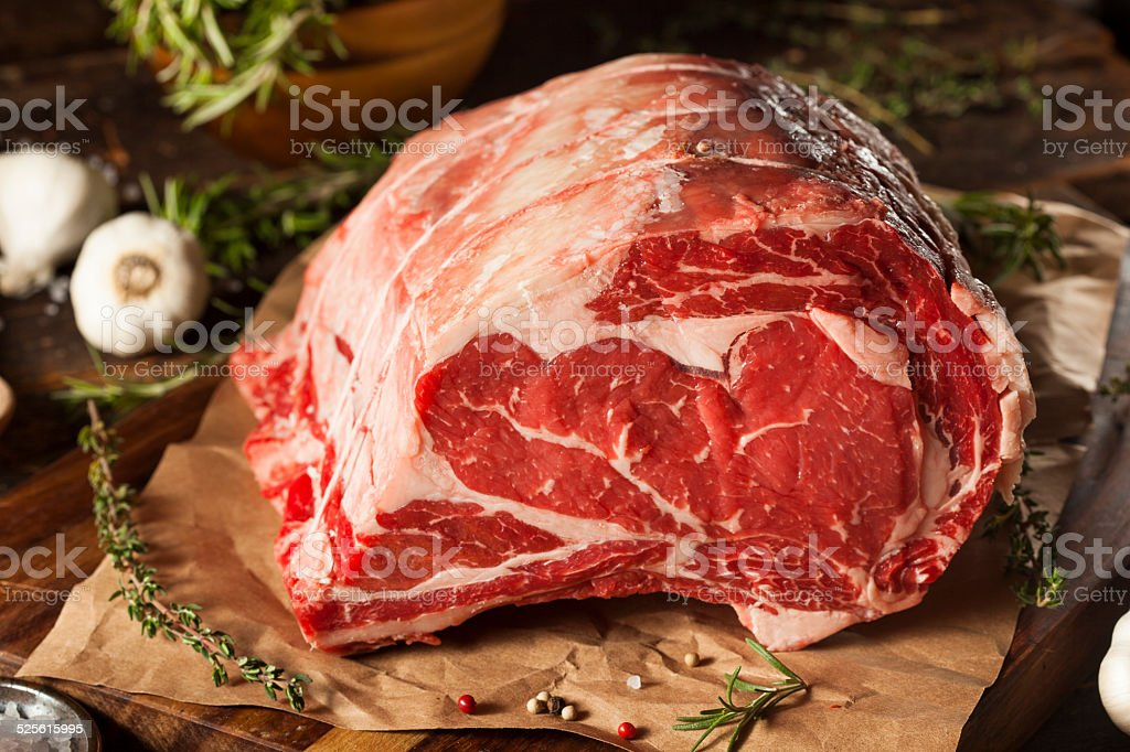 Raw Grass Fed Prime Rib Meat stock photo