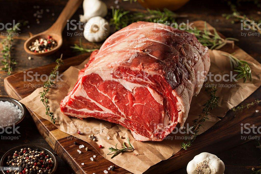 Raw Grass Fed Prime Rib Meat stock photo