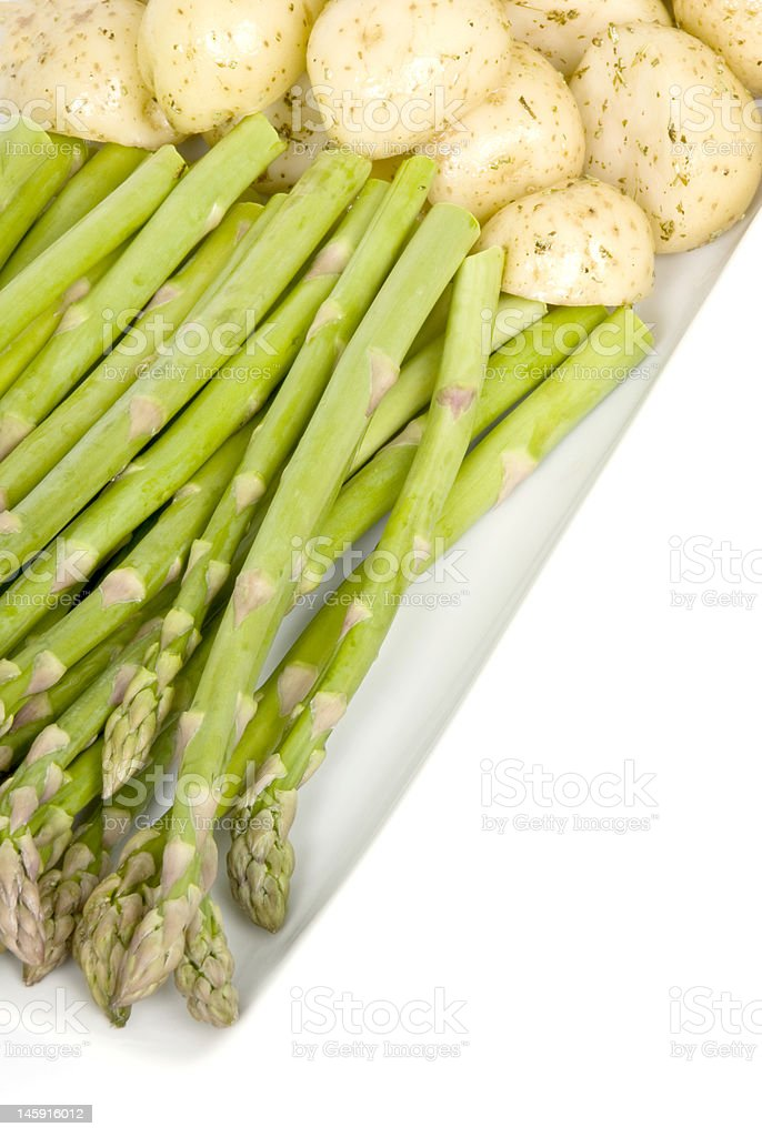 Raw Green Asparagus and Small Potatoes stock photo
