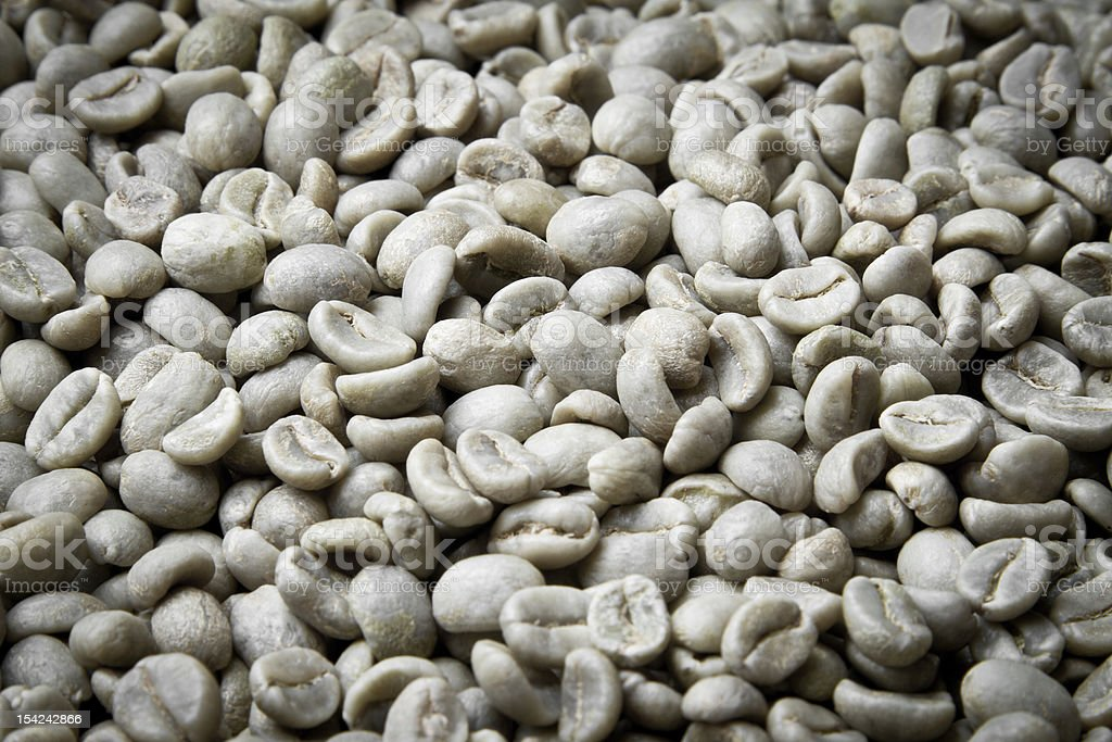 Raw, Green Coffee Beans royalty-free stock photo