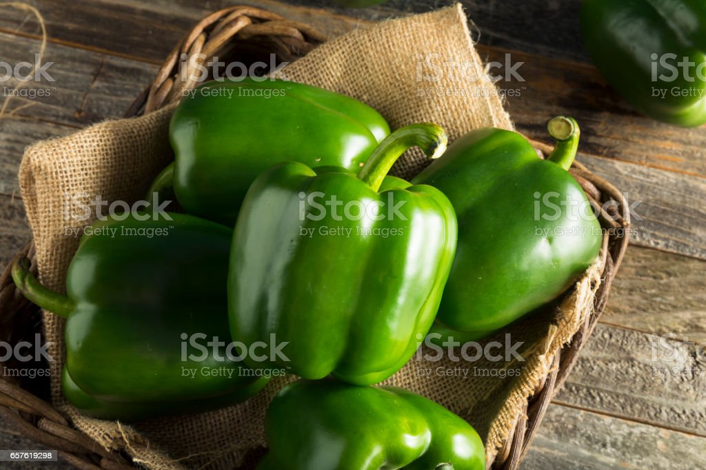 Raw Green Organic Bell Peppers stock photo