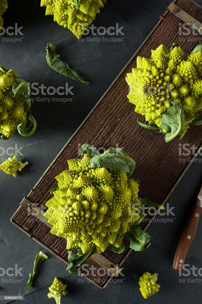 Raw Green Organic Romanesco stock photo
