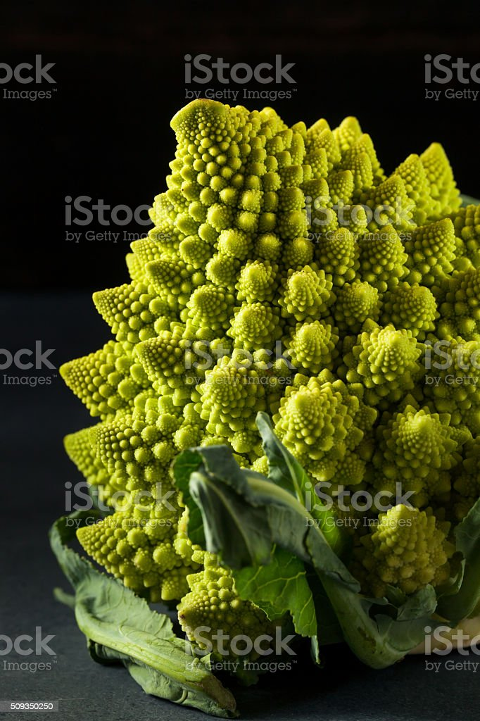 Raw Green Organic Romanesco stock photo
