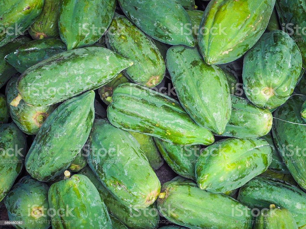 Raw green papayas background stock photo