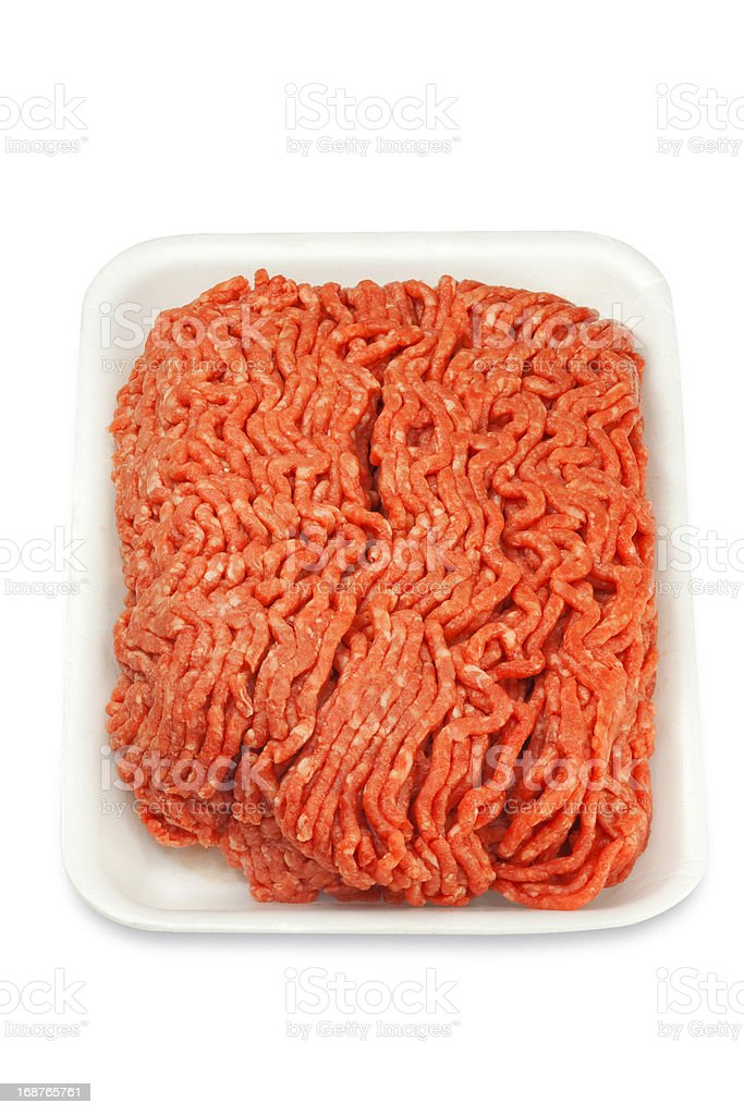 Raw Ground Beef in a White Tray royalty-free stock photo