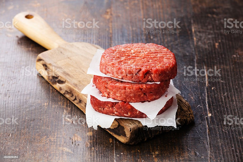 Raw Ground beef meat Burger steak cutlets stock photo