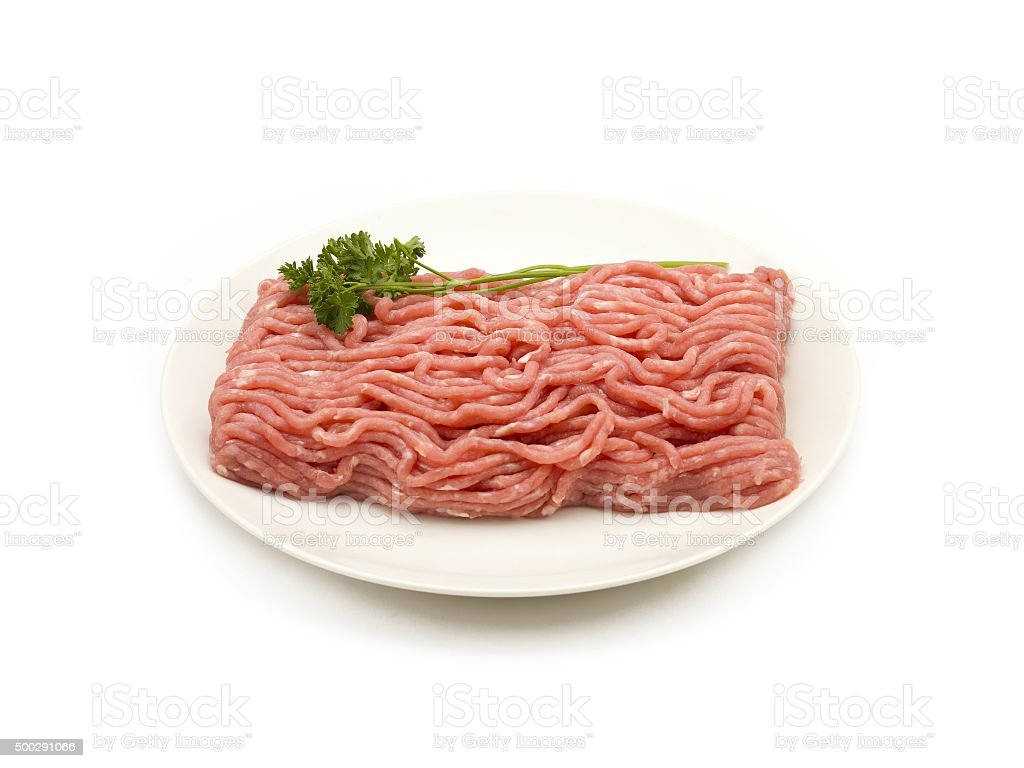 Raw Ground Beef on a Plate stock photo