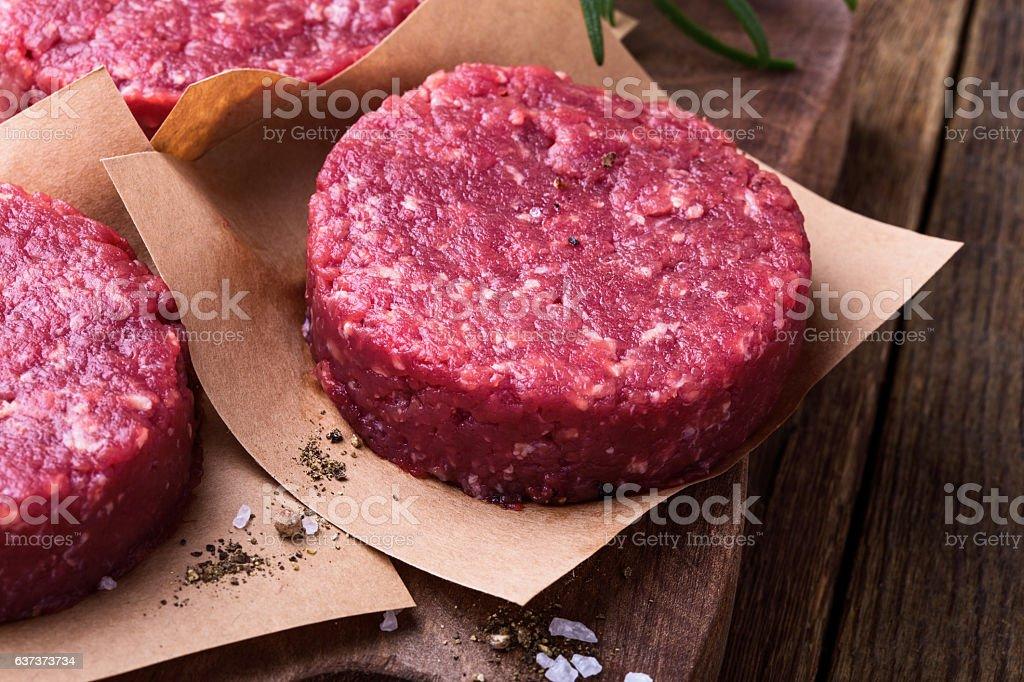 Raw ground beef, round patties for making burgers stock photo