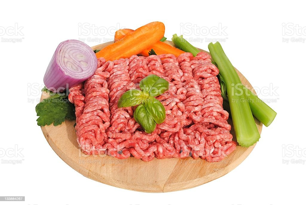 raw ground beef with vegetables royalty-free stock photo