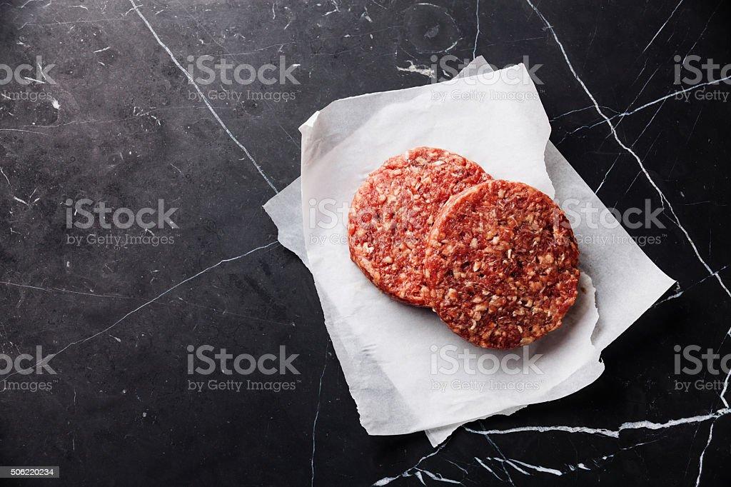 Raw Ground meat Burger steak cutlets stock photo