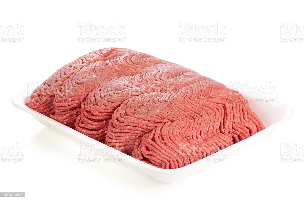 Raw Ground Meat in white styrofoam tray royalty-free stock photo