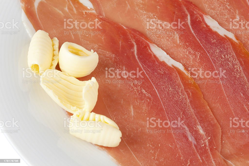 Raw ham royalty-free stock photo