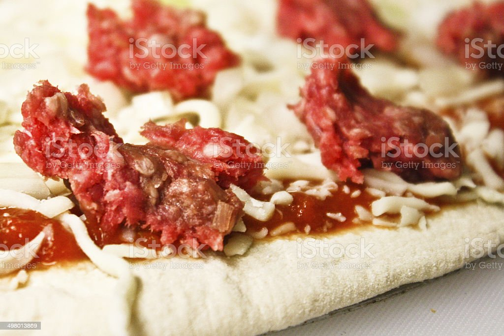 Raw Hamburg Pizza stock photo