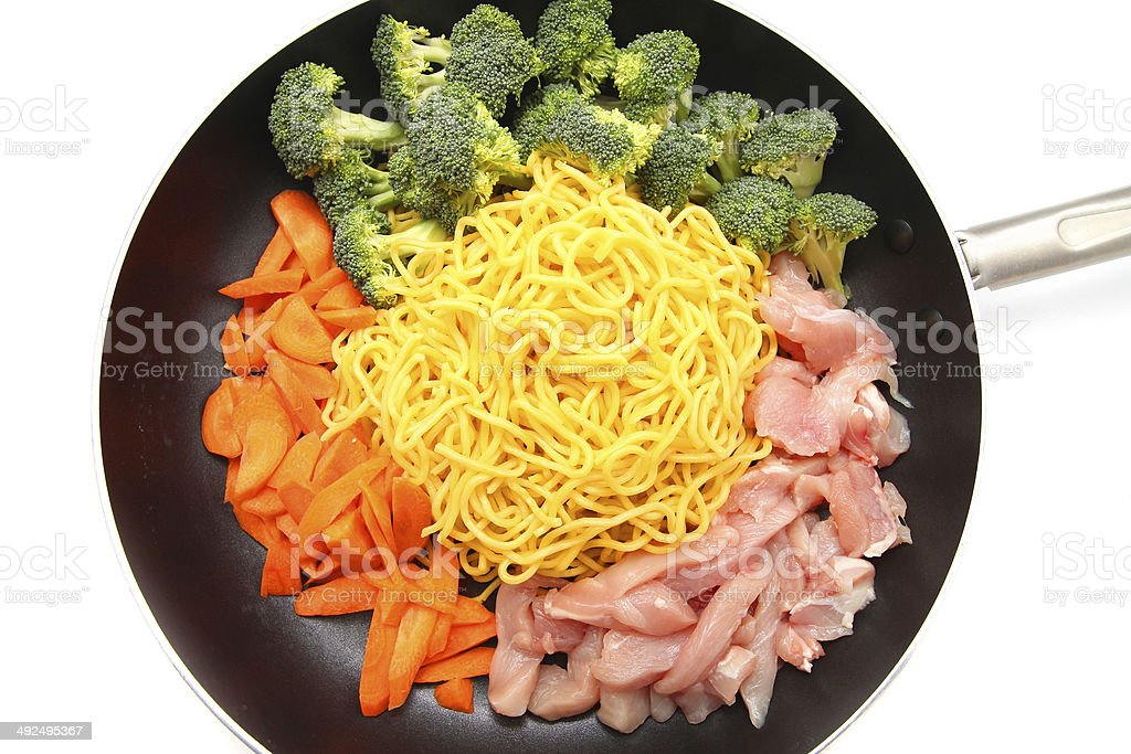 Raw Hokkien Noodle and ingredients stock photo
