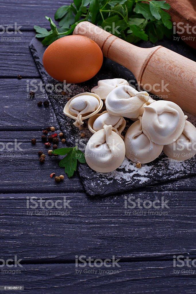 Raw homemade dumplings stock photo