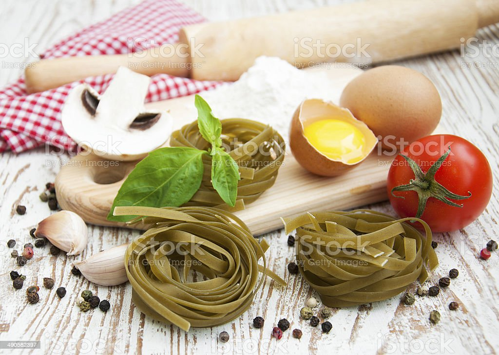 Raw homemade pasta stock photo
