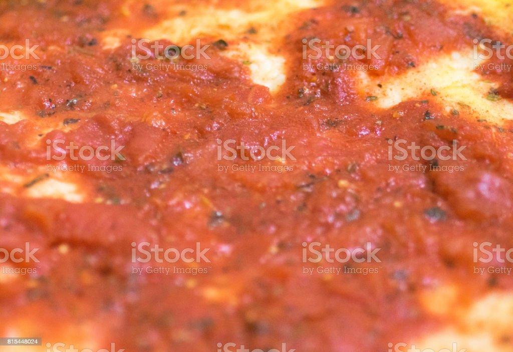 Raw homemade pizza close up stock photo