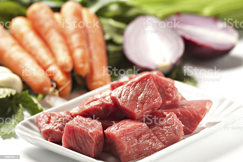 Raw Ingredients For A Traditional Beef Stew Recipe royalty-free stock photo