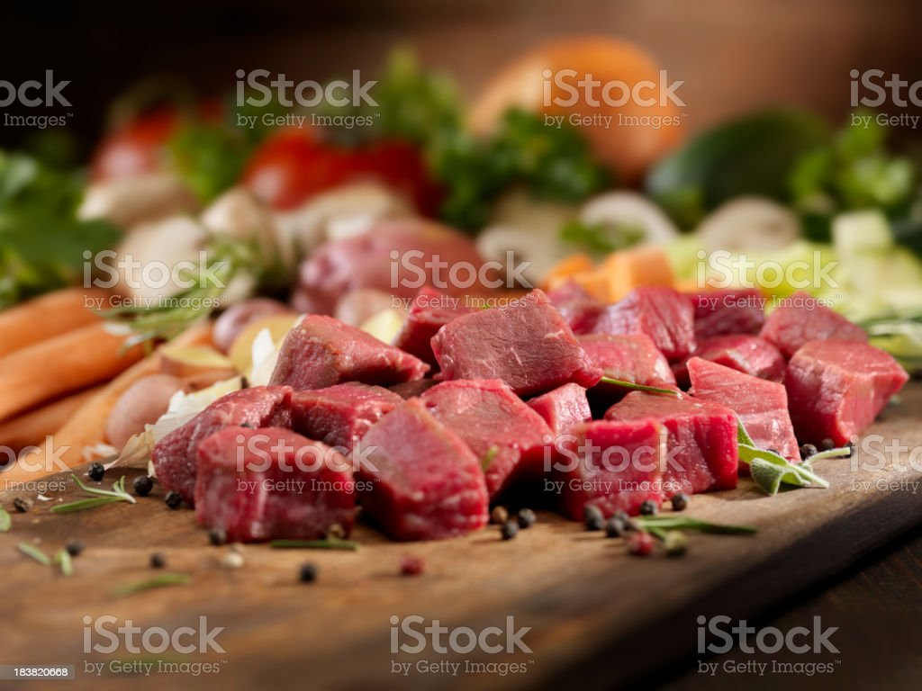 Raw Ingredients for Beef Stew stock photo