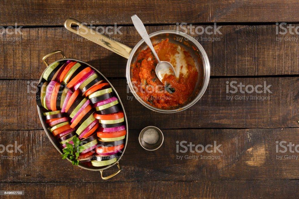 Raw ingredients for cooking vegetarian dish ratatouille stock photo